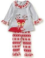 Bonnie Jean Little Girls 2T-6X Christmas Reindeer Dress & Printed Leggings Set