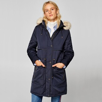 Esprit Faux Fur Hood Parka with Pockets