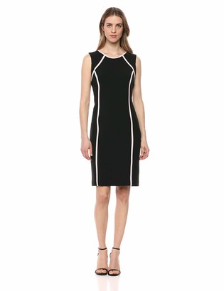 Kasper Women's Sleeveless Jewel Neck Stretch Crepe Dress with Piping