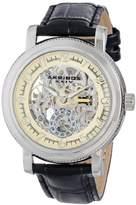 Akribos XXIV Men's AK634SSW Retro Stainless Steel Black Leather Automatic Skeleton Watch