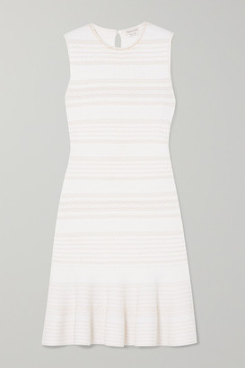 Alexander McQueen Ruffled Cable-knit Wool-blend Mini Dress - Ivory