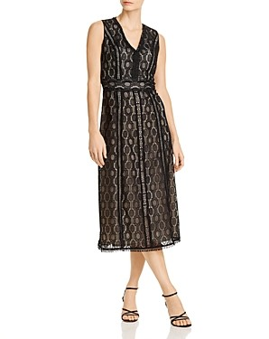 Elie Tahari Pax Geometric Crochet Lace Dress
