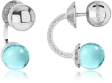 Rebecca Boulevard Stone Rhodium Over Bronze Double Ball Drop Earrings w/Turquoise Hydrothermal Stone