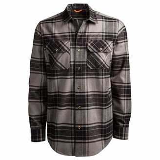 Timberland Men's Woodfort Heavy-Weight Flannel Work Shirt Pewter/Black Check