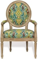 The Well Appointed House Avery Antiqued Ivory Chair with Ikat Fabric-Set of Two