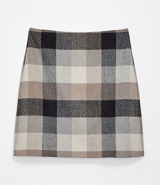 LOFT Petite Checked Shift Skirt