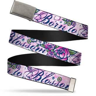 "Buckle Down Buckle-Down Men's Buckle-Down Web Belt Born To Blossom Tattoo 1.5"""