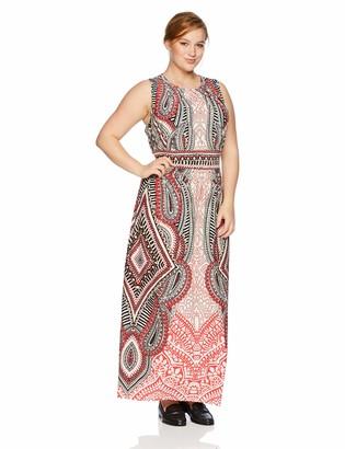 London Times Women's Plus Size Sleeveless Pleat Neck Inset Waist Maxi Dress