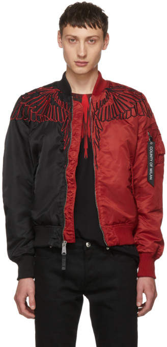 Marcelo Burlon County of Milan Black and Red Wings MA-1 Bomber Jacket