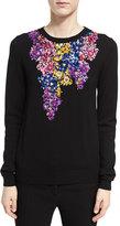 Oscar de la Renta Floral-Embroidered Crewneck Sweater