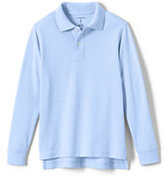 Classic Toddler Kid Long Sleeve Performance Mesh Polo-White
