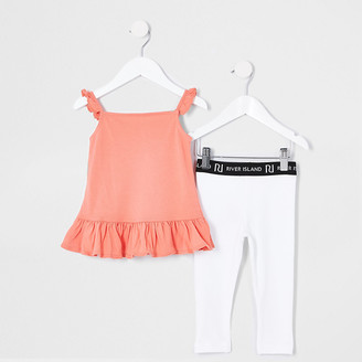 River Island Mini girls coral cami and legging outfit