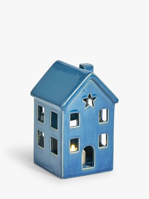John Lewis & Partners Bloomsbury Battery Operated Ceramic House Christmas Lantern, Teal