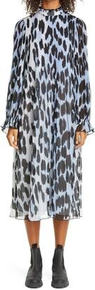 Ganni Leopard Print Sheer Georgette Long Sleeve Midi Dress