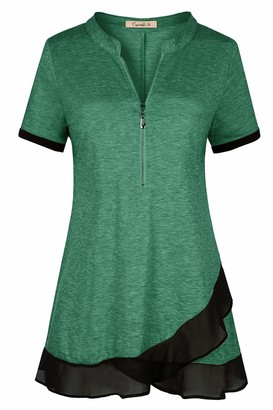 Private Label Cyanstyle Women's Deep V Neck Short Sleeve Zip Up Casual Loose Shirt Blouse Tops Green XXL