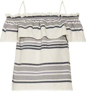 Splendid Off-the-shoulder Ruffled Striped Cotton-gauze Top