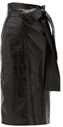 MSGM Crocodile-effect Faux Leather Midi Skirt - Womens - Black