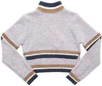 MonnaLisa Cropped Wool Blend Knit Sweater