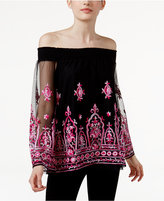 INC International Concepts Petite Embroidered Off-The-Shoulder Top, Only at Macy's