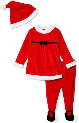 Wee Play Girls' Casual Dresses - Red & White Velour Long-Sleeve Top Set - Infant