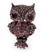 Avalaya Gun Metal Crystal Owl Brooch