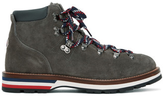 Moncler Grey Suede Peak Boots