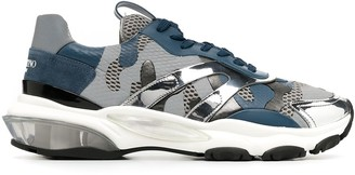 Valentino Camouflage Pattern Panelled Sneakers
