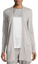 Peserico Open-Front Long Cardigan, Stone
