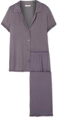 Eberjey Ruthie Ruffled Stretch-modal Jersey Pajama Set - Dark gray