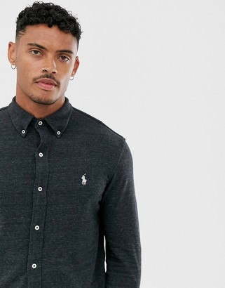 Polo Ralph Lauren slim fit pique shirt in charcoal with player logo-Grey