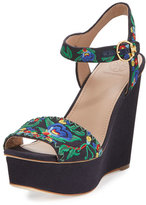 Tory Burch Sonoma Embroidered 120mm Wedge Sandal, Tory Navy/Multi/Green