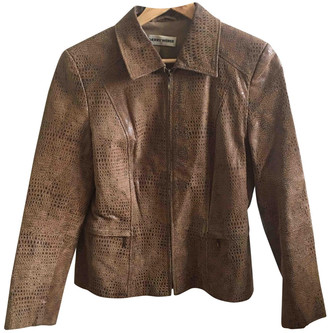 Gerry Weber Brown Leather Leather Jacket for Women Vintage