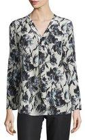 Lafayette 148 New York Libby Long-Sleeve V-Neck Printed Blouse, Black Multi