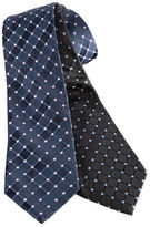 Black Brown 1826 Classic Fit Grid-Print Silk Tie