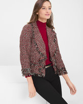White House Black Market Tweed Jacket with Fringe