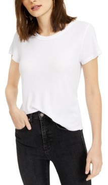 Hippie Rose Juniors' Lace-Trimmed Waffle-Knit T-Shirt