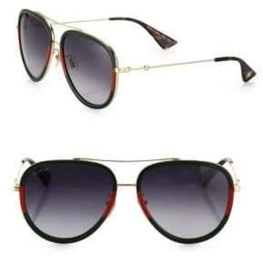 Gucci 57MM Tortoise Pilot Sunglasses