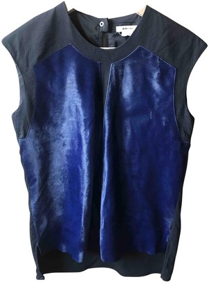 Helmut Lang Blue Leather Tops