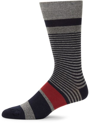 Saks Fifth Avenue Made In Italy Thin & Thick Stripe Crew Socks