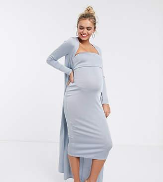 Asos DESIGN Maternity Baby Shower ruched bandeau midi dress and drape jacket set-Blue