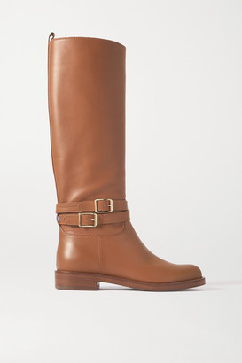 Gianvito Rossi Buckled Leather Knee Boots - Tan