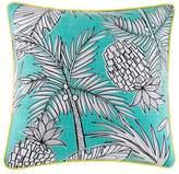 Kas Teal Pineapple Palm Cotton Cushion