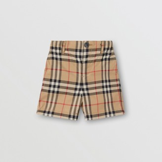 Burberry Childrens Vintage Check Cotton Poplin Tailored Shorts