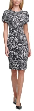 Calvin Klein Printed Tulip-Sleeve Sheath Dress