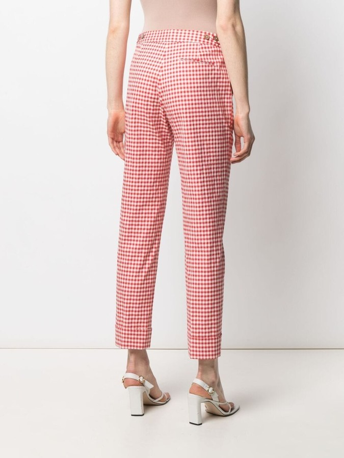 Thumbnail for your product : Pt01 Check-Print Cropped Trousers