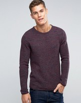 Esprit Waffle Knit Crew Neck Jumper In Mixed Yarns