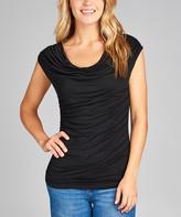Lydiane Women's Blouses BLK-black - Black Cowl Neck Cap-Sleeve Top - Women