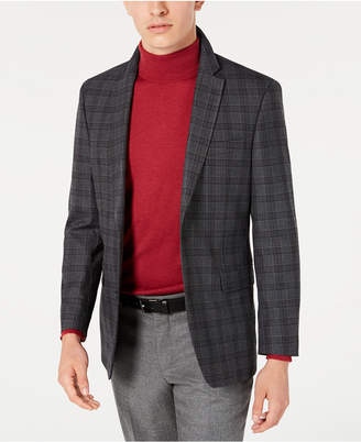 Tommy Hilfiger Men Modern-Fit THFlex Stretch Gray/Brown Plaid Sport Coat