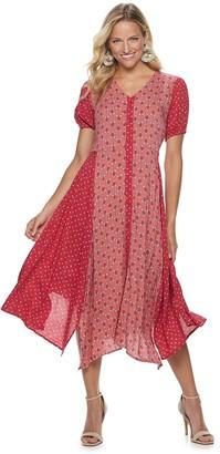 Sharagano Women's Mixed-Print Sharkbite Hem Dress