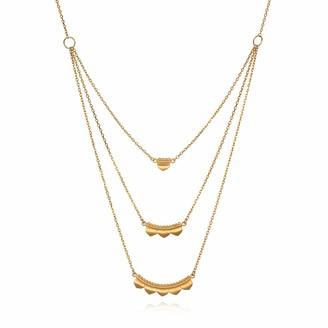 Satya Jewelry Gold Petal Triple Chain (20-Inch) Pendant Necklace